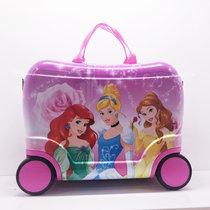 迪?#21355;?2017创意儿童个性可坐可骑行李箱学生拖箱卡通女童出游箱子16寸旅行箱(三公主 16寸)