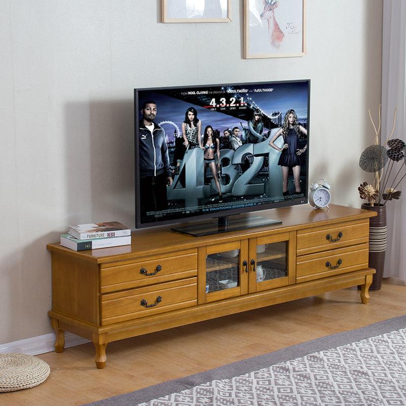 歪脖树 欧式实木电视柜 简约客厅电视柜实木储物电视地柜(浅咖色 1.