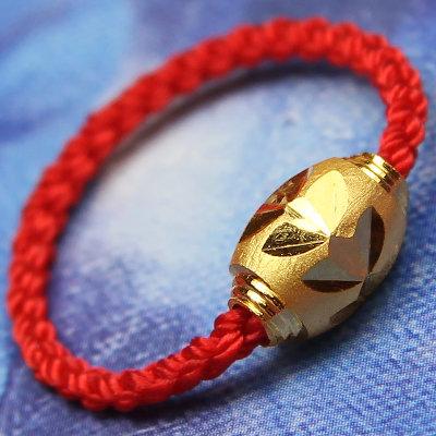 思无邪 红绳黄金戒指 女士金戒指 情侣款转运珠足金戒指 (0.40克)